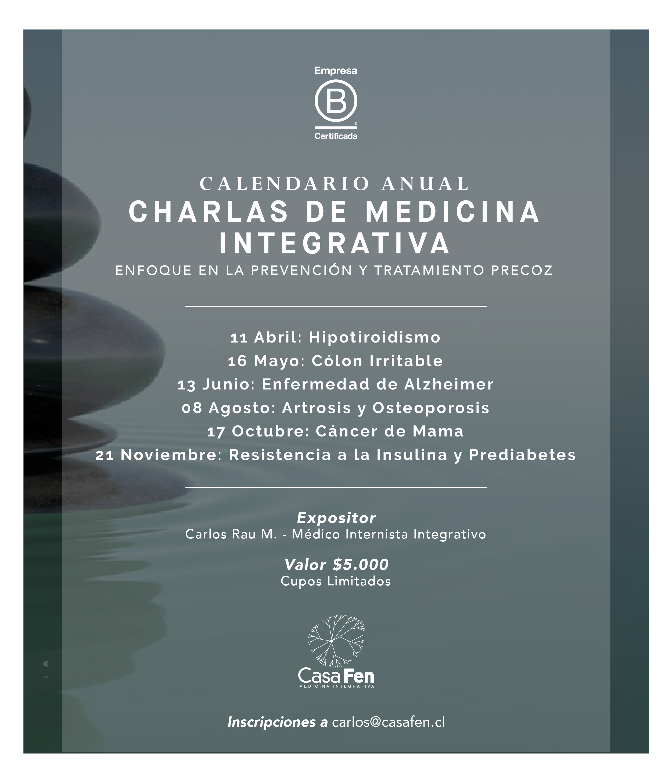 Charlas de Medicina Integrativa - Calendario 2019