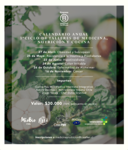 Calendario Anual 3er Ciclo de Talleres de Medicina, Nutrición y Cocina