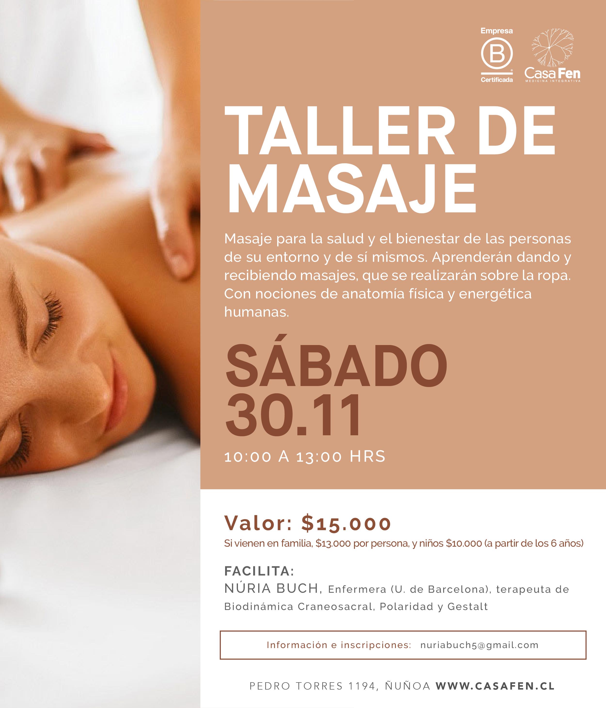 Taller de masaje noviembre 2019 - CasaFen