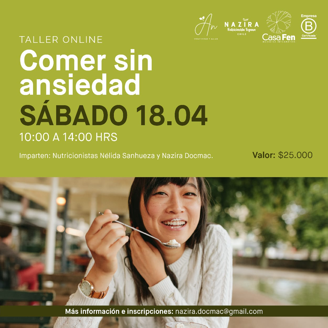 Comer sin ansiedad, taller online - CasaFen