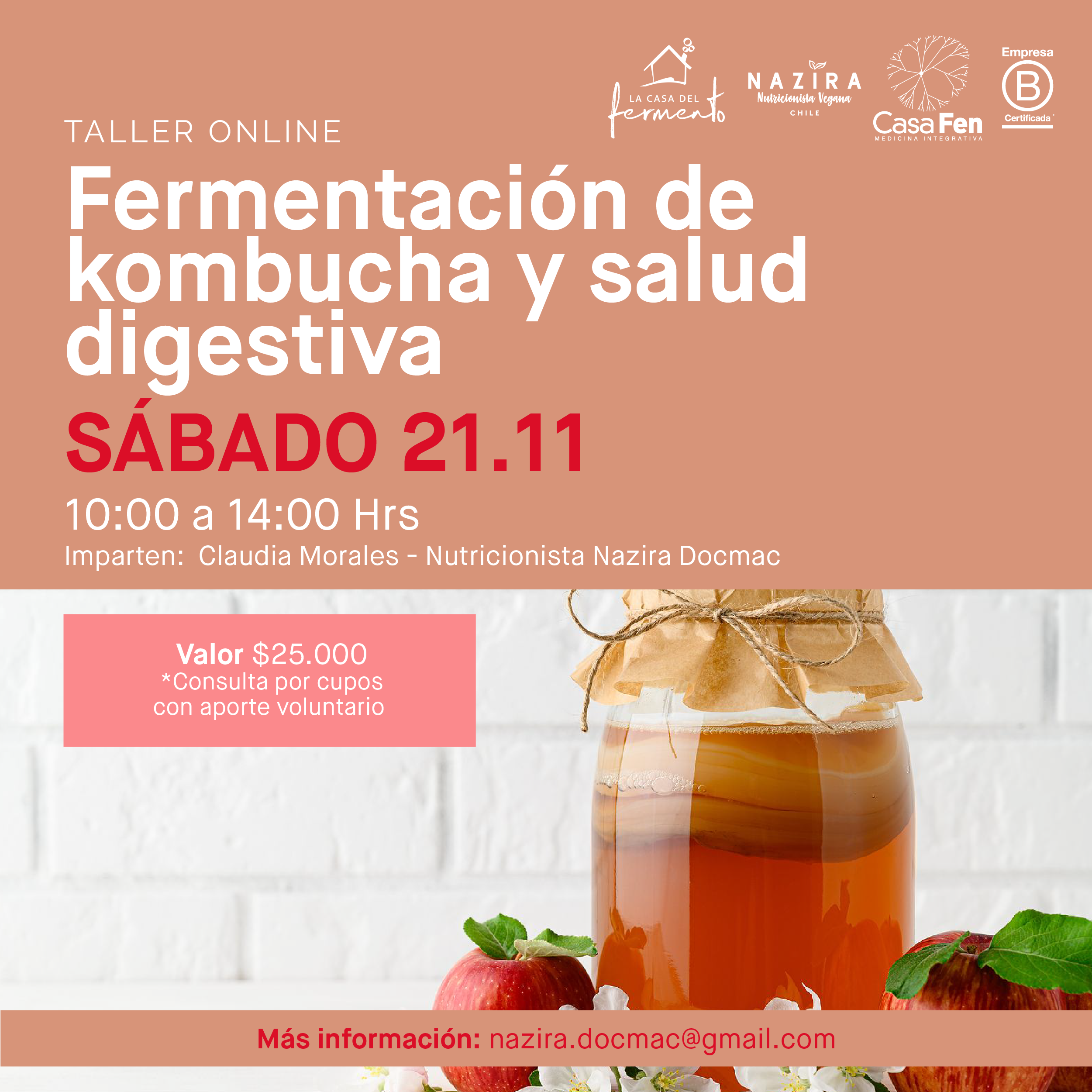 Taller online Fermentación de kombucha y salud digestiva-CasaFen